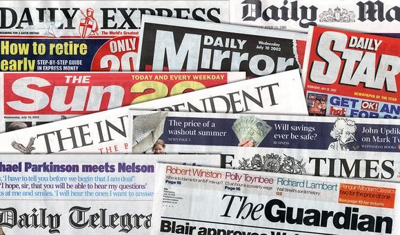 A selection of British newspapers